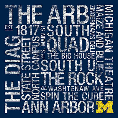Schools Photograph - Michigan College Colors Subway Art by Replay Photos