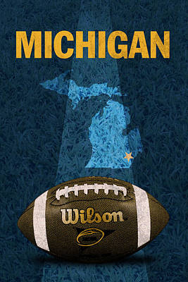 Ncaa Mixed Media - Michigan Football Poster by Design Turnpike