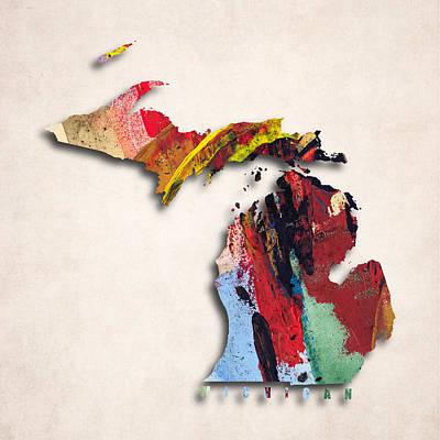 Michigan State Digital Art - Michigan Map Art - Painted Map Of Michigan by World Art Prints And Designs
