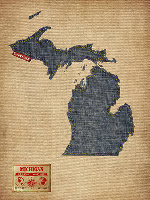 Michigan Map Denim Jeans Style Art Print by Michael Tompsett