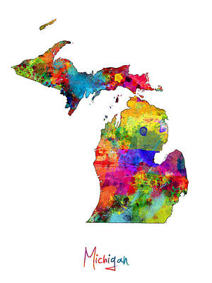 Detroit Digital Art - Michigan Map by Michael Tompsett