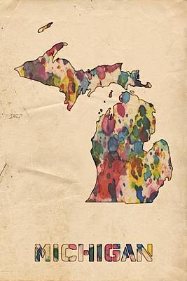 Painting - Michigan Map Vintage Watercolor by Florian Rodarte