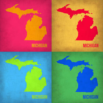 Michigan Painting - Michigan Pop Art Map 1 by Naxart Studio
