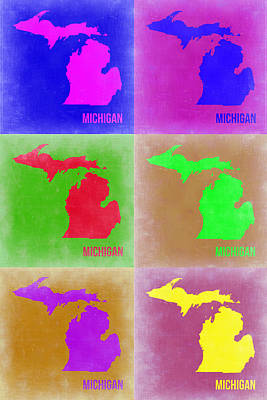 Modern Poster Painting - Michigan Pop Art Map 2 by Naxart Studio