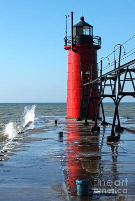 Photograph - Michigan Red Lighthouse by Gregory Dyer