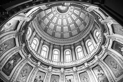Photograph - Michigan State Capitol Dome In Black And White  by John McGraw