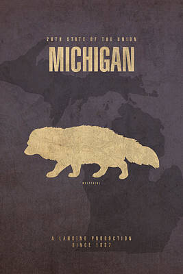 Mixed Media - Michigan State Facts Minimalist Movie Poster Art  by Design Turnpike