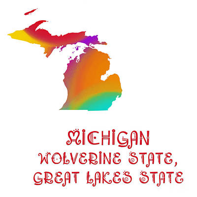 Andee Design Red Digital Art - Michigan State Map Collection 2 by Andee Design
