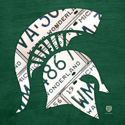 License Mixed Media - Michigan State Spartans Sports Retro Logo License Plate Fan Art by Design Turnpike