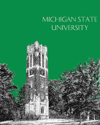 Dorm Digital Art - Michigan State University - Forest Green by DB Artist