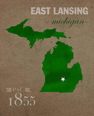 Michigan State University Spartans East Lansing College Town State Map Poster Series No 004 Art Print