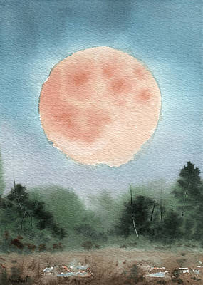 Painting - Michigan Supermoon  by Sean Seal