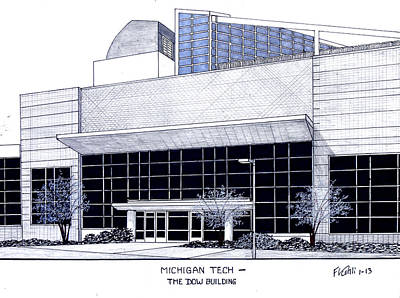 Drawing - Michigan Tech by Frederic Kohli