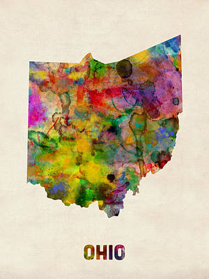 Ohio Watercolor Map Print by Michael Tompsett