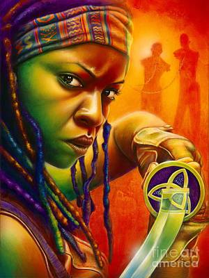 Zombies Painting - Michonne by Scott Spillman