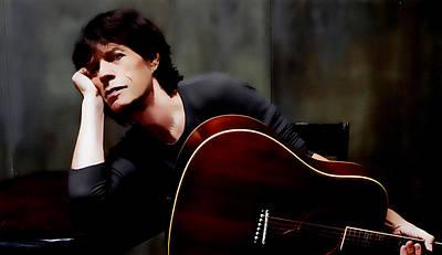Mick Jagger And Keith Richards Digital Art - Mick Jagger And Guitar by Brian Reaves