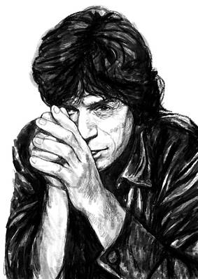 Abstract Pop Drawing - Mick Jagger Art Drawing Sketch Portrait by Kim Wang