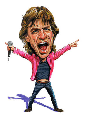 Musicians Paintings - Mick Jagger by Art