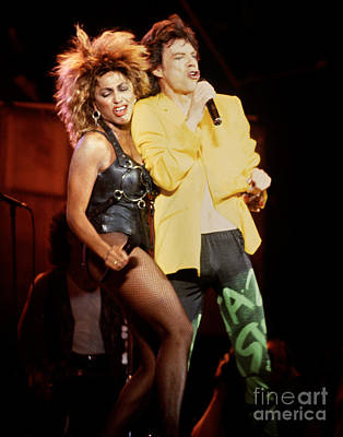 Rolling Stones Photograph - Mick Jagger Tina Turner 1985  Live Aid Concert by Chuck Spang