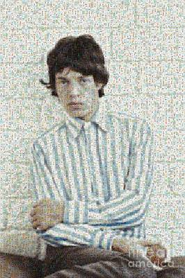 Digital Art - Mick Jagger With Apple Mosaic by Paulette B Wright