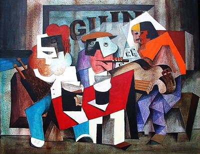 Tin Whistle Painting - Mick Paddy And Iggy by Val Byrne