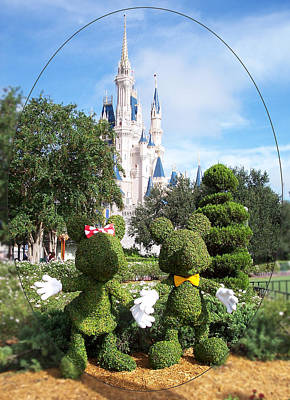 Photograph - Mickey And Minnie Topiaries by Georgia Hamlin