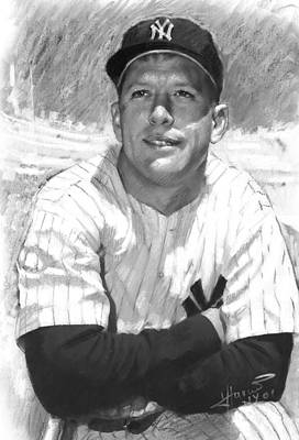 Art Print featuring the drawing Mickey Mantle by Viola El