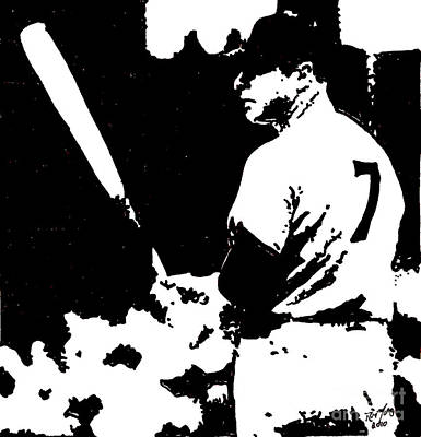 New York Yankees Drawing - Mickey Mantle Drawing by Rob Monte