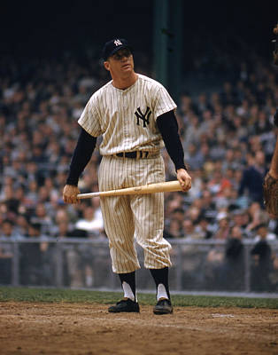 New York Stadiums Photograph - Mickey Mantle In Yankee Stadium by Retro Images Archive