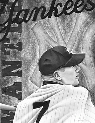 Yankee Stadium Drawing - Mickey Mantle by Scott  Hubbert
