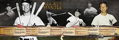 New York Yankees Photograph - Mickey Mantle Timeline Panoramic by Retro Images Archive