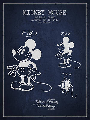 Mickey Mouse Patent Drawing From 1930 Art Print by Aged Pixel