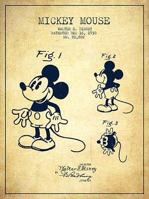Distress Digital Art - Mickey Mouse Patent Drawing From 1930 - Vintage by Aged Pixel