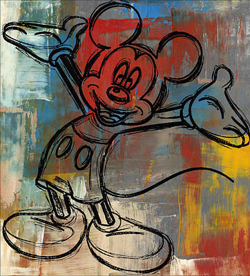 Custom Digital Art - Mickey Mouse Sketchy Hello by Paulette B Wright