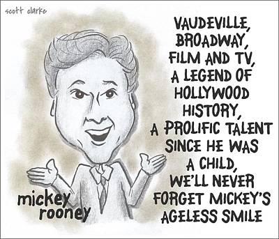 Mickey Rooney Drawing - Mickey Rooney by Scott Clarke