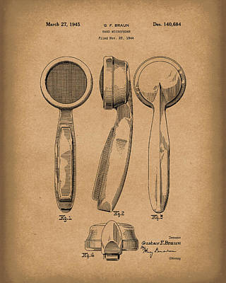 Drawing - Microphone 1945 Patent Art Brown by Prior Art Design