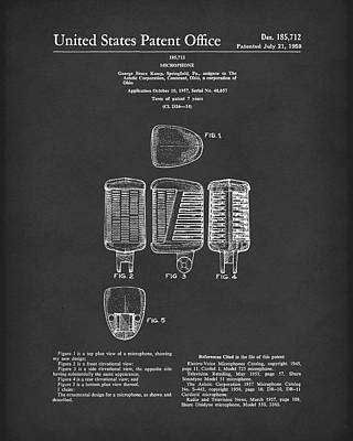 Art Print featuring the drawing Microphone 1959 Patent Art Black by Prior Art Design