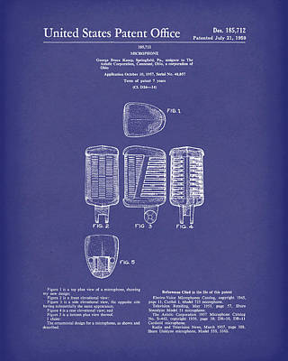 Drawing - Microphone 1959 Patent Art Blue by Prior Art Design