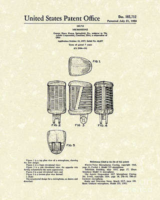 Drawing - Microphone 1959 Patent Art by Prior Art Design