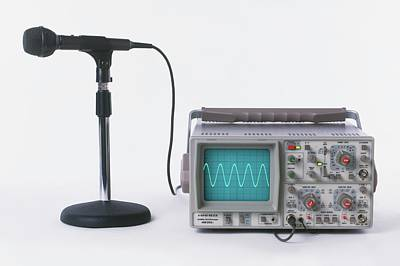 Microphone Connected To Oscilloscope Art Print by Dorling Kindersley/uig