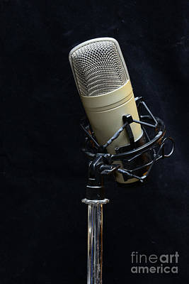Microphone On Black Art Print by Paul Ward