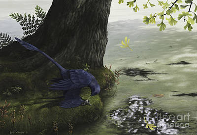 Microraptor Digital Art - Microraptor Gui Eating A Small Fish by Emily Willoughby