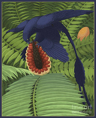 Microraptor Digital Art - Microraptor Gui Snacking On A Cycad by Emily Willoughby
