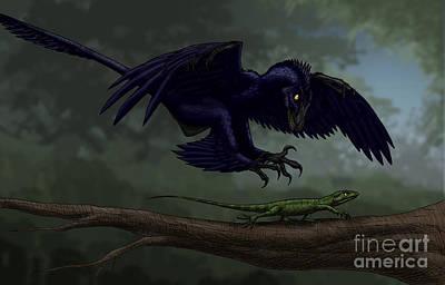 Prehistoric Digital Art - Microraptor Hunting A Small Lizard by Vitor Silva