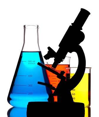 Microscope In Laboratory Print by Jim Hughes