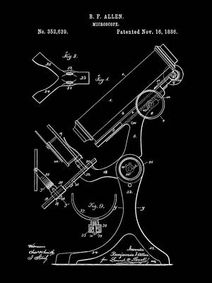 Lab Digital Art - Microscope Patent 1886 - Black by Stephen Younts