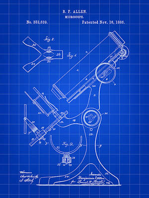 Magnification Digital Art - Microscope Patent 1886 - Blue by Stephen Younts