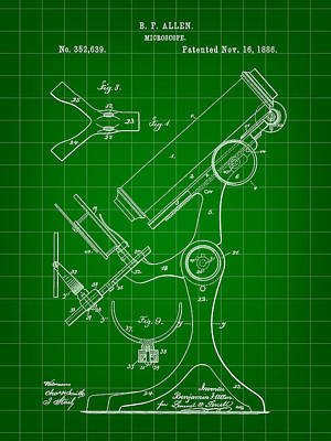 Lab Digital Art - Microscope Patent 1886 - Green by Stephen Younts