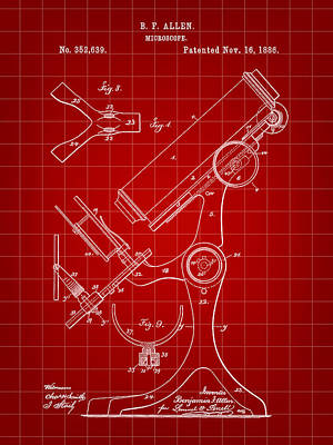 Lab Digital Art - Microscope Patent 1886 - Red by Stephen Younts
