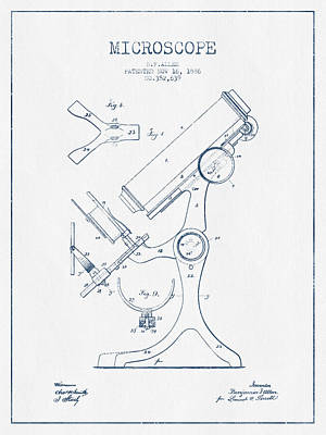Microscope Patent Drawing From 1886 - Blue Ink Art Print